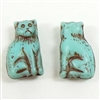 cat beads, glass beads, antique turquoise, 15mm