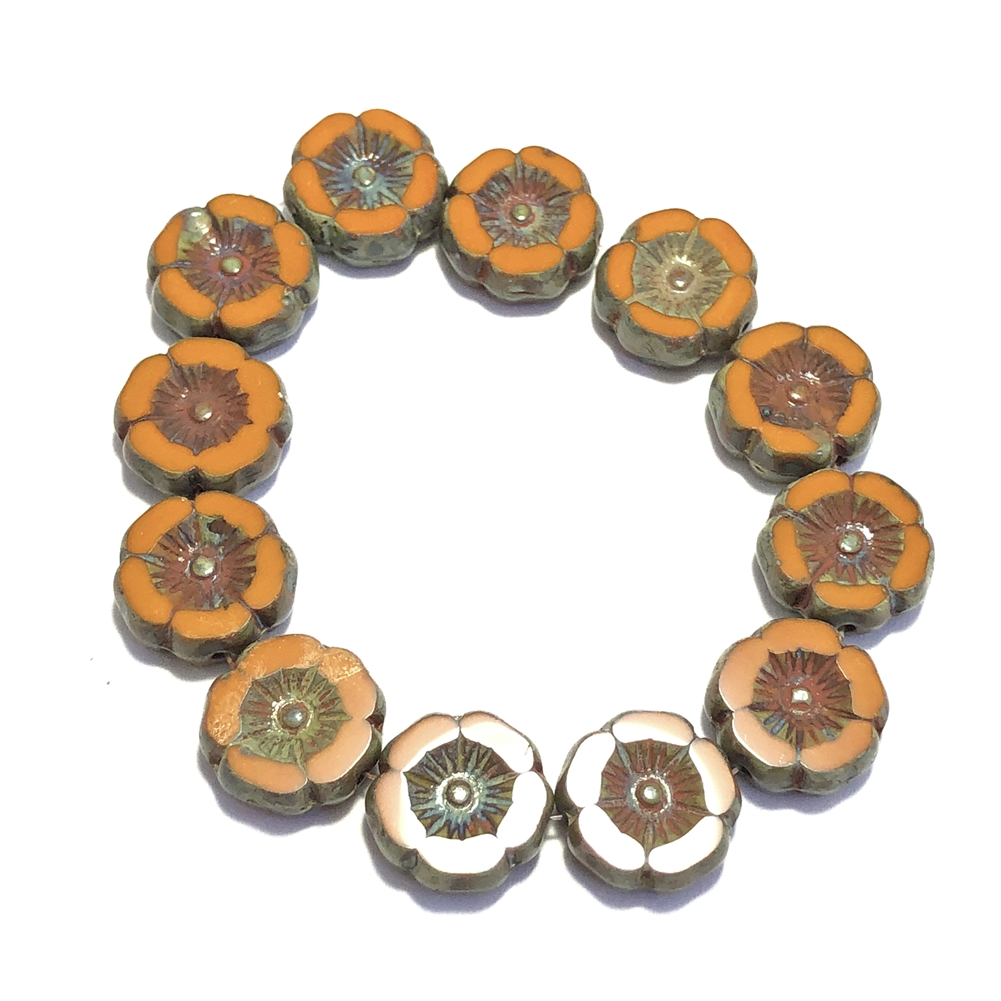 pumpkin with Picasso finish hibiscus flowers, glass beads, floral beads, orange, pumpkin, Picasso finish, beads, flower beads, carved bead, Czech glass, Hawaiian beads, 12mm, hibiscus flowers, hibiscus beads, jewelry making, beading supplies, 0460