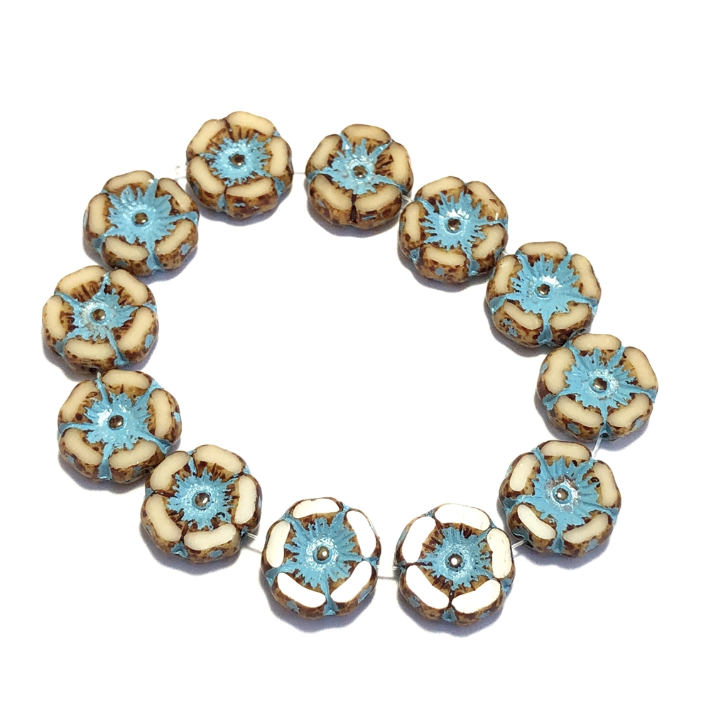 champagne and turquoise wash hibiscus flowers, glass beads, floral beads, turquoise, champagne, Picasso finish, turquoise wash, beads, flower beads, carved bead, Hawaiian beads, 12mm, hibiscus flowers, hibiscus beads, jewelry making, beading supplies,0461