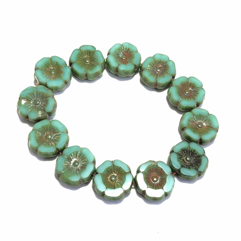 sea green with Picasso finish hibiscus flowers, glass beads, floral beads, green, sea green, Picasso finish, beads, flower beads, carved bead, Czech glass, Hawaiian beads, 12mm, hibiscus flowers, hibiscus beads, jewelry making, beading supplies, 0462