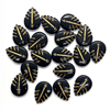 acrylic leaf pendants, leaf charms, black with gold detail, plastic leaves, 20x15mm, vintage supplies, jewelry making, jewelry supplies, jewelry findings, B'sue Boutiques, 04647, leaves, leaf, charms, beading supplies, boho style