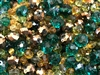 Czech and Asian glass beads, 04875, fall leaves shades, mixed emeralds, golden beads,  assorted beads, beading supplies, jewelry making supplies, vintage jewelry supplies, rondelle beads, round beads, oval beads