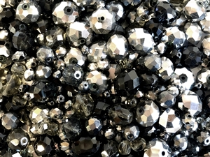 Czech and Asian glass beads, 048780, jet black, mixed jet, silver and smoked,  assorted beads, beading supplies, jewelry making supplies, vintage jewelry supplies, rondelle beads, round beads, oval beads