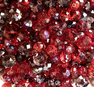 Czech and Asian glass beads, 04881, red berry shades, mixed reds,  assorted beads, beading supplies, jewelry making supplies, vintage jewelry supplies, rondelle beads, round beads, oval beads
