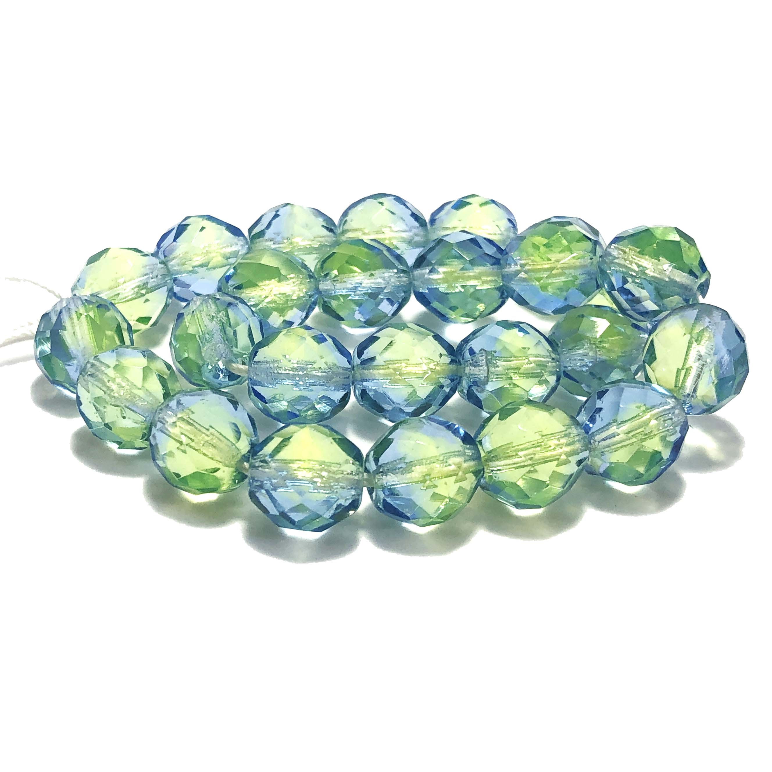 fire polished beads, Czech, lime sapphire, jewelry making ,jewelry supplies, vintage supplies, B'sue Boutiques, lime beads, light sapphire beads, glass beads, faceted beads, sapphire beads, beading supplies, 10mm, ombre beads, transparent beads, 049