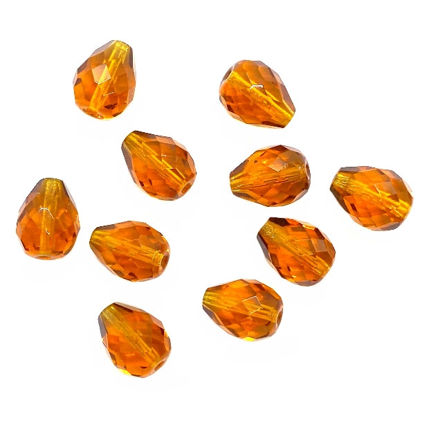 topaz teardrop glass beads, fire-polished beads, topaz fire-polished glass beads, glass beads, Czech, beading supplies, transparent beads, beads, topaz beads, jewelry making, jewelry supplies, pear, teardrop, B'sue Boutiques, 16x12mm, 04980