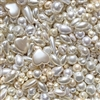 bd05008, Japanese cultura pearls, vintage, cream pearls, costume pearls, made in Japan, vintage Japan, vintage 60's, high quality costume pearls, mixed shapes, 6mm, 12mm, big pearls, little pearls, B'sue Boutiques, baroque shaped pearls, vintage fashion