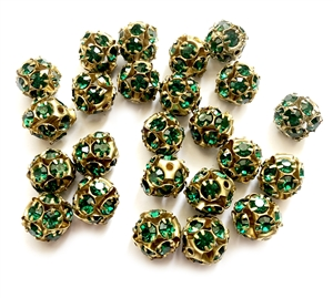 Rhinestone Ball Beads, Emerald Beads, 10mm, 05044,  glass beads, brass beads, imitation emerald, round beads, Czech, crystal beads, faceted, bead, glass,  US made, nickel free, b'sue boutiques, jewelry making, jewelry findings, vintage supplies