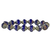 sapphire Picasso finish beads, sapphire, beads, Czech glass beads, saucer beads, Czech glass, Czech, glass, Picasso, drilled, glass beads, transparent beads, US made, B'sue Boutiques, jewelry making, sapphire beads, turbine beads, 11x10mm, 05046