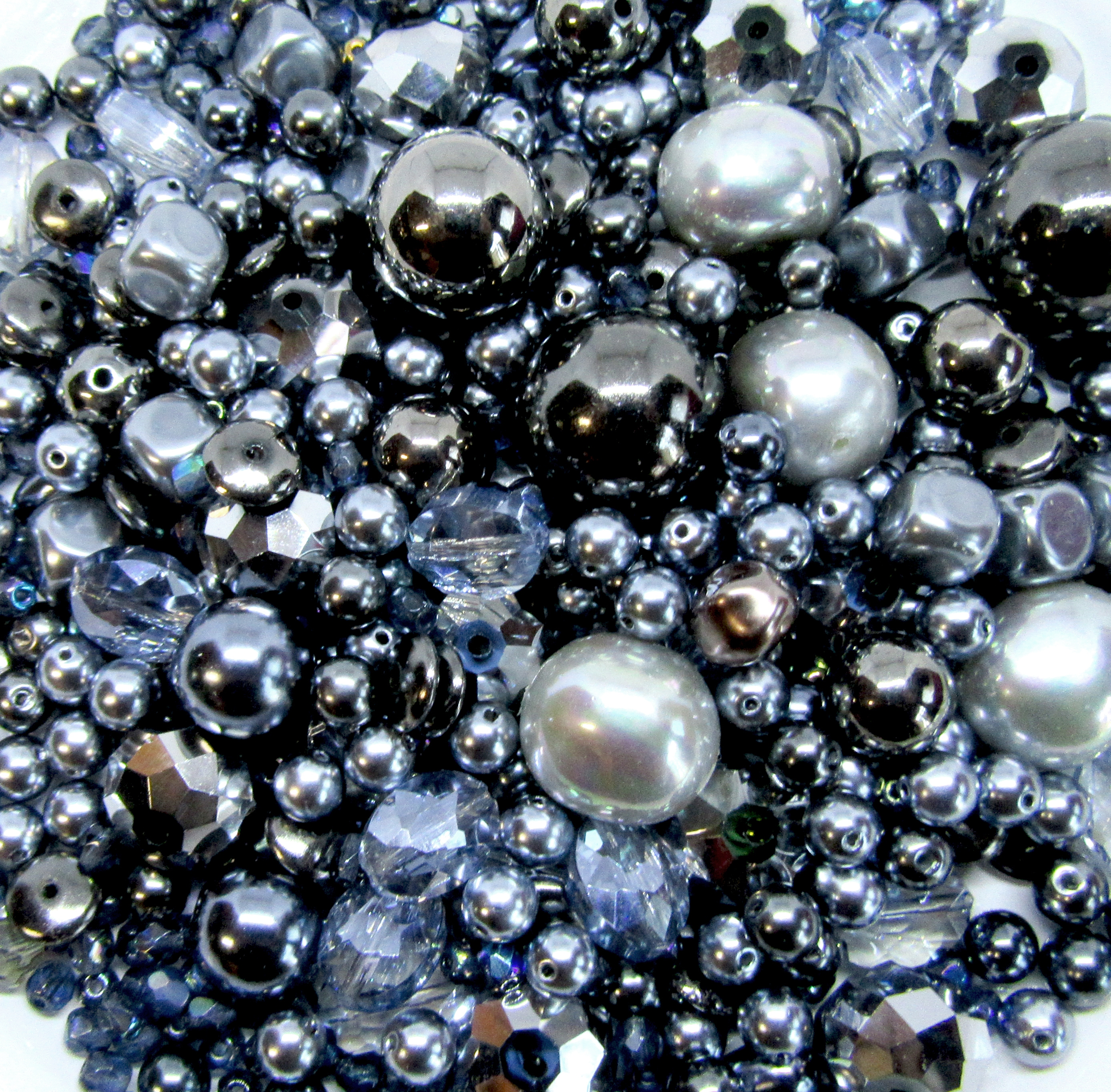 blue steel, steel blue beads, vintage beads, glass beads, vintage glass beads, vintage plastic beads, assorted beads, bead mix, hematite black, designer beads, vintage plastic beads, modacrylic beads, grey pearls, silver glass beads, B'sue Boutiques