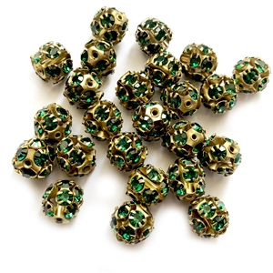 Rhinestone Ball Beads, Emerald Beads, 11mm, 05057,  glass beads, brass beads, imitation emerald, round beads, Czech, crystal beads, faceted, bead, glass,  US made, nickel free, b'sue boutiques, jewelry making, jewelry findings, vintage supplies