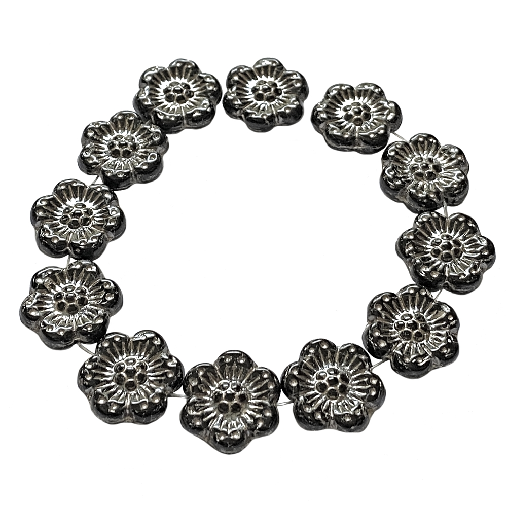 wild rose flower beads, jet black with platinum wash, black with silver accents beads, flower beads, jet black beads, silver accent beads, Czech glass, Czech glass beads, hibiscus flower, vintage look, beads, wild rose beads, 14mm, glass beads, 05066