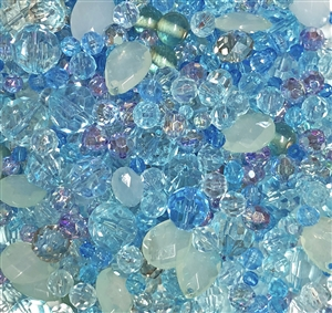 aqua, aquamarine, tanzanite, assorted beads, mixed beads, mixed colors beads, plastic beads, designer quality, designer beads, fashion beads, vintage fashion, silver grey, celadon, briolettes, B'sue Boutiques, vintage plastic beads, bag of beads