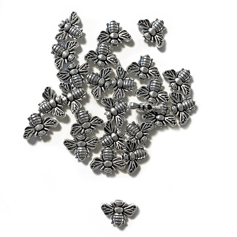 spacer bee beads, zinc alloy, antique silver, bee beads, beads, honeybee, bees, spacer beads, jewelry supplies, bead bees, jewelry bees, jewelry beads, bug beads, 13x19mm, jewelry findings, vintage supplies, jewelry making, B'sue Boutiques, 05121