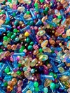 bd05121, spring colors, bead mix, jelly beans,vintage, acrylic, designer bead mix, mixed beads, mixed colors and shaped beads, vintage beads, B'sue Boutiques, blue, green, jonquil, jonquil ab beads, pink, peridot, happy colors, plastic beads, fun beads