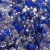 simulated sapphire, sapphire blue, blue beads mix, sapphire blue beads, vintage acrylic beads, mixed beads, beads mix, assorted beads, vintage beads, light blue sapphire, briolettes, pendants, B'sue Boutiques, vintage beads