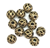 argyle style beads, round, 5mm, brass ox, brass beads, industrial beads, metal beads, beads, filigree beads, designer findings, designer beads, steampunk, vintage supplies, jewelry making, B'sue Boutiques, 05145