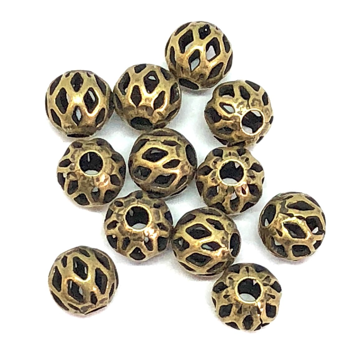 argyle style beads, round, 5mm, brass ox, brass beads, industrial beads, metal beads, beads, filigree beads, antique brass, brass ox beads, designer findings, designer beads, steampunk, vintage supplies, jewelry making, B'sue Boutiques, 05145