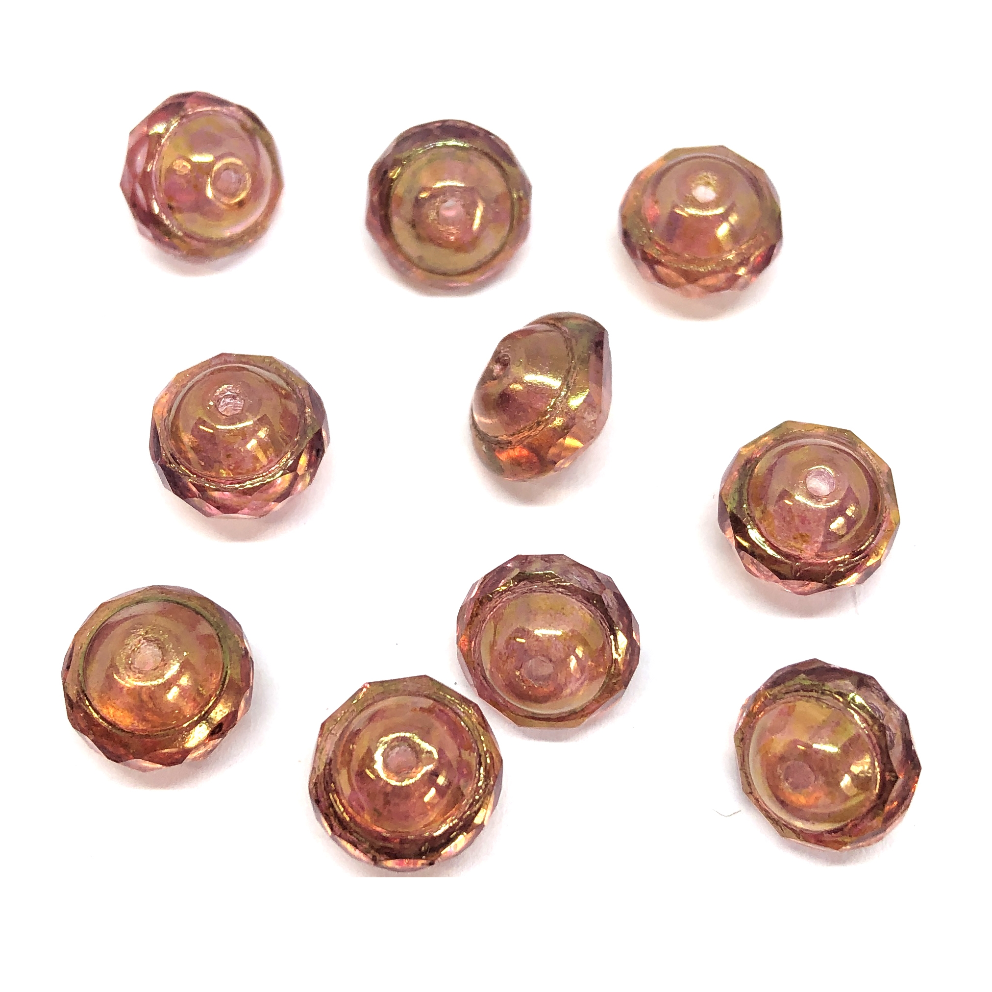 Saturn golden Beads, pink gold luster, Czech glass beads, 0517, saucer beads, Czech glass, Czech, glass, drilled, transparent beads, US made, B'sue Boutiques, jewelry making, 8x10mm