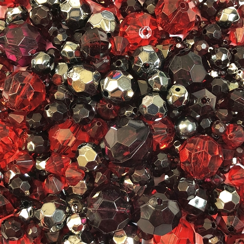 vintage beads, garnet, siam, ruby, hematite, plastic beads, vintage plastic, funky beads, dramatic bead mix, mixed beads, mixed vintage beads, epoxy resin, acrylic, old plastic, big beads, large  beads, B'sue Boutiques, fire, smoke, red beads, gunmetal