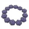 wild rose beads, glass beads, floral beads, tanzanite, 14mm, 0524, beading supplies, vintage jewelry supplies, jewelry making supplies, bsueboutiques, purple tanzanite beads, side drilled beads, vintage flower beads, flower beads,