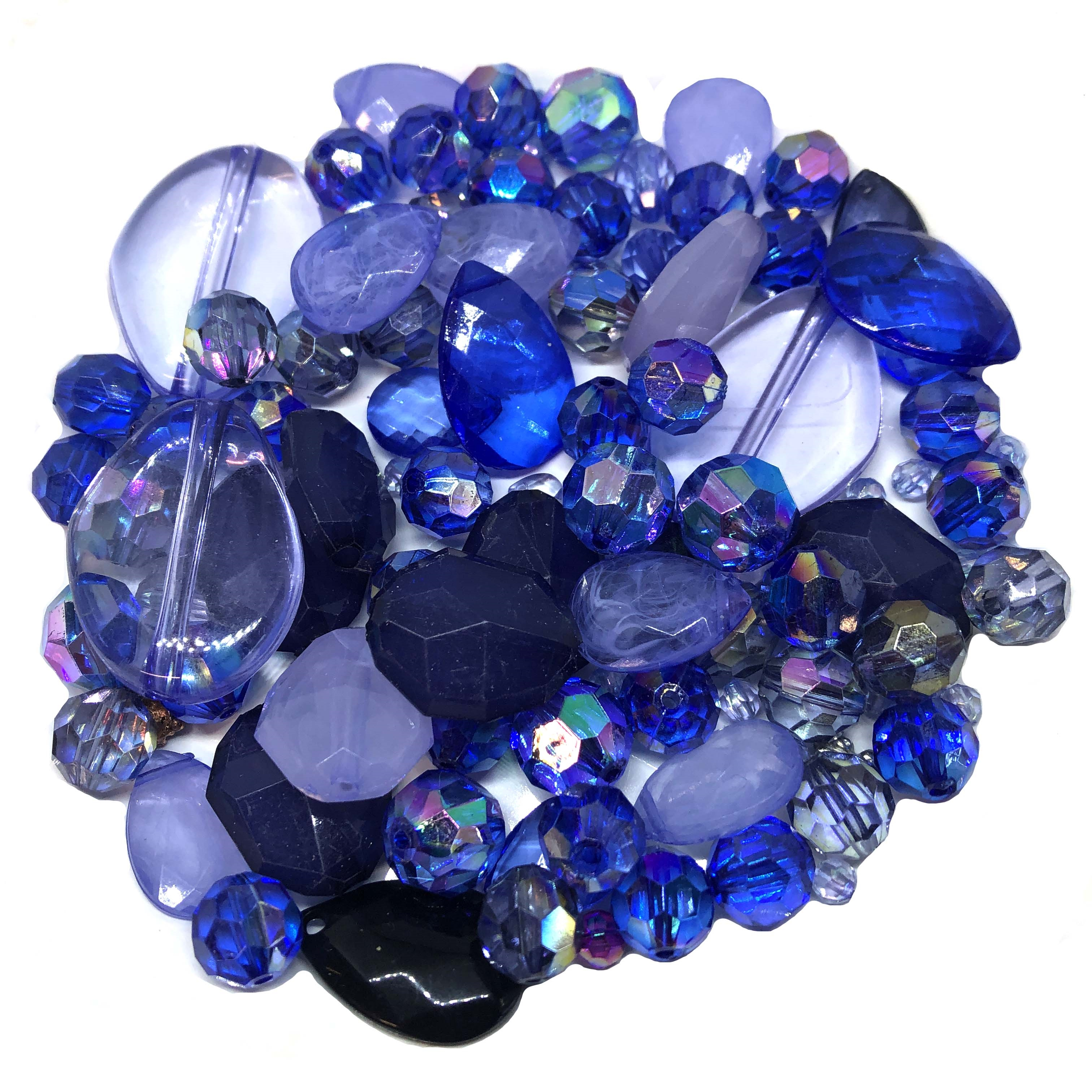 Moody Blue bead mix, Chunky Beads 05286, midnight sapphire ab, mixed blue beads, assorted beads, beading supplies, jewelry making supplies, vintage jewelry supplies,  fire polished beads, assorted briolettes