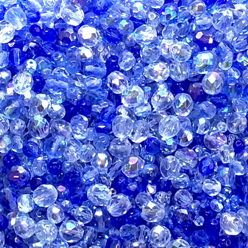 Mixed Baby glass beads, Light and Dark sapphire ab, 05292, midnight sapphire ab, mixed blue beads, assorted beads, beading supplies, jewelry making supplies, vintage jewelry supplies, machine cut beads,  fire polished beads