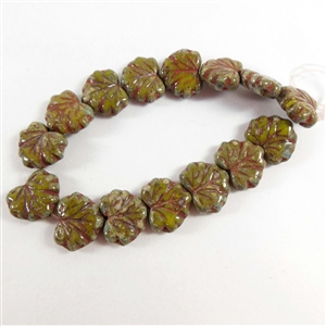 glass leaf beads, jewelry making, dark olive,10mm