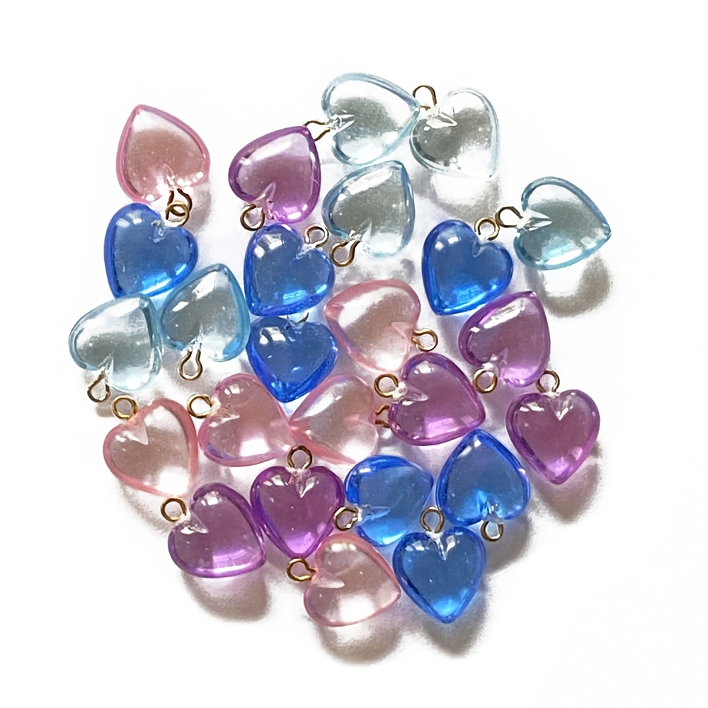 puffy heart drops, mixed springs colors, heart charms, heart drops, lucite heart drops, puffy hearts, spring colors beads, spring colors, assorted hearts, drops, spring, 11x9mm, jewelry making, vintage supplies, jewelry supplies, B'sue Boutiques, 05772