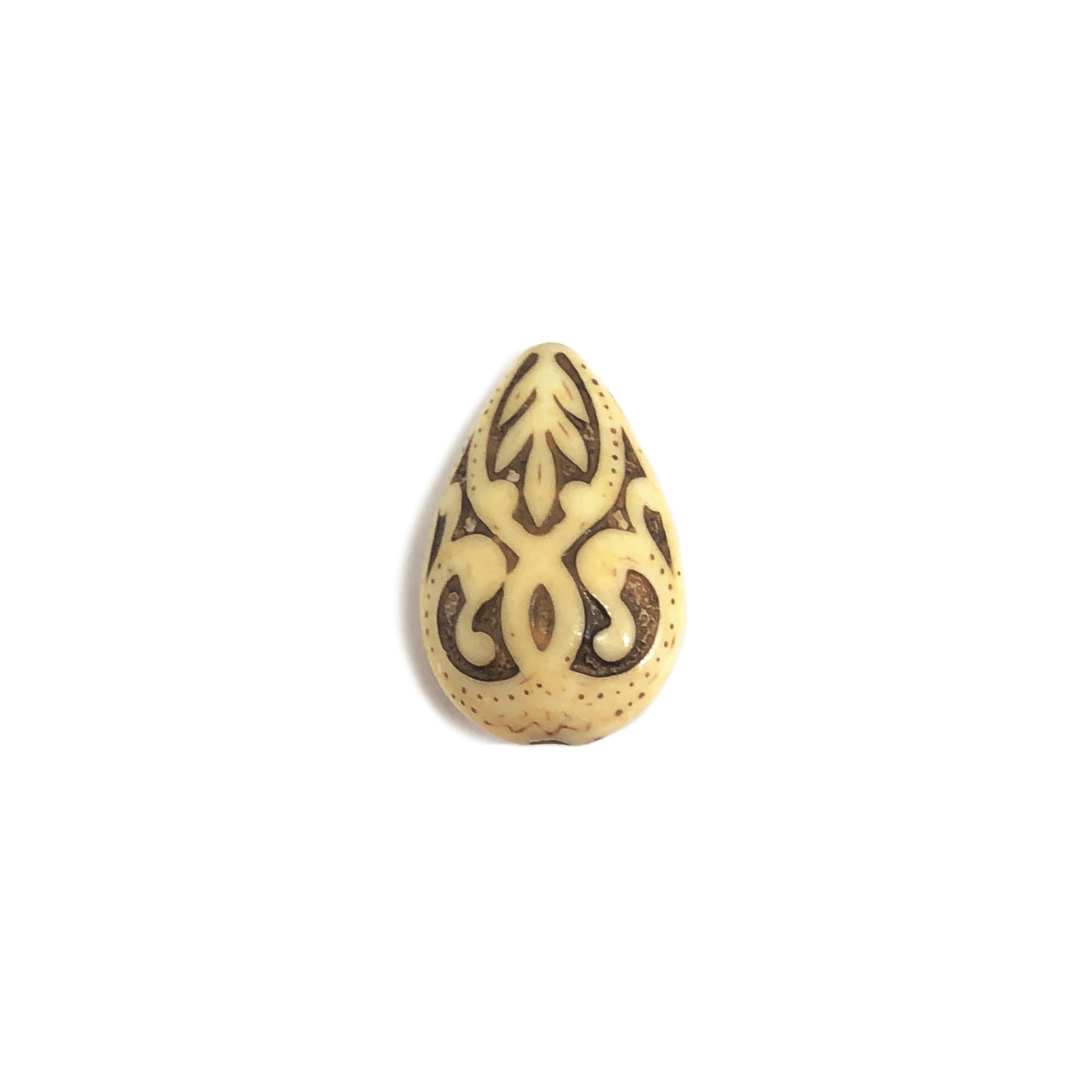 mocha ivory teardrop bead, acrylic beads, Victorian beads, ivory, mocha accents, bead, teardrop bead, mocha ivory, jewelry making, vintage supplies, jewelry supplies, B'sue Boutiques, US made, 19x13mm, 04590