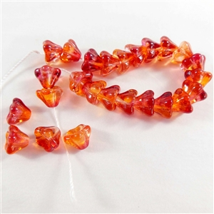 glass beads, Czech glass, Preciosa, melon, 6 x 8mm
