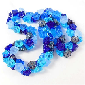 Jablonex Czech beads, button back beads, blues