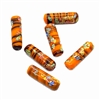 orange tiger tombo glass tube beads, glass beads, beads, Japanese, barrel beads, 1960s, 20 x 6mm, orange beads, tiger beads, beading supplies, jewelry making, jewelry supplies, B'sue Boutiques, jewelry findings, 06067