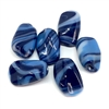 baroque glass beads, blue marble, 18x12mm, 06092, flattened rectangular beads, opaque blue marble beads, Japanese beads, Cherry Brand Beads, vintage jewelry supplies, jewelry making supplies, twisted beads