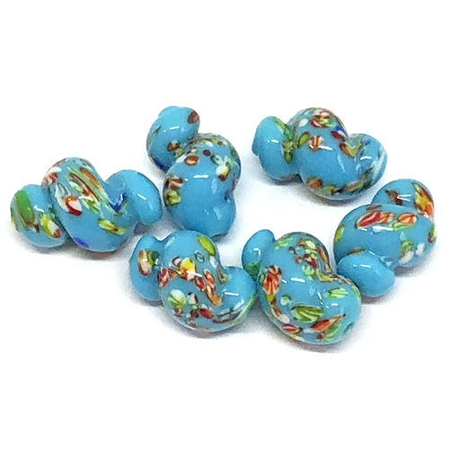 blue turquoise twisted oval glass beads, glass beads, beads, Japanese, twisted glass, glass, twisted oval beads, 1960s, glass oval beads, 14x9mm,  beading supplies, jewelry making, jewelry supplies, B'sue Boutiques, jewelry findings, 06093