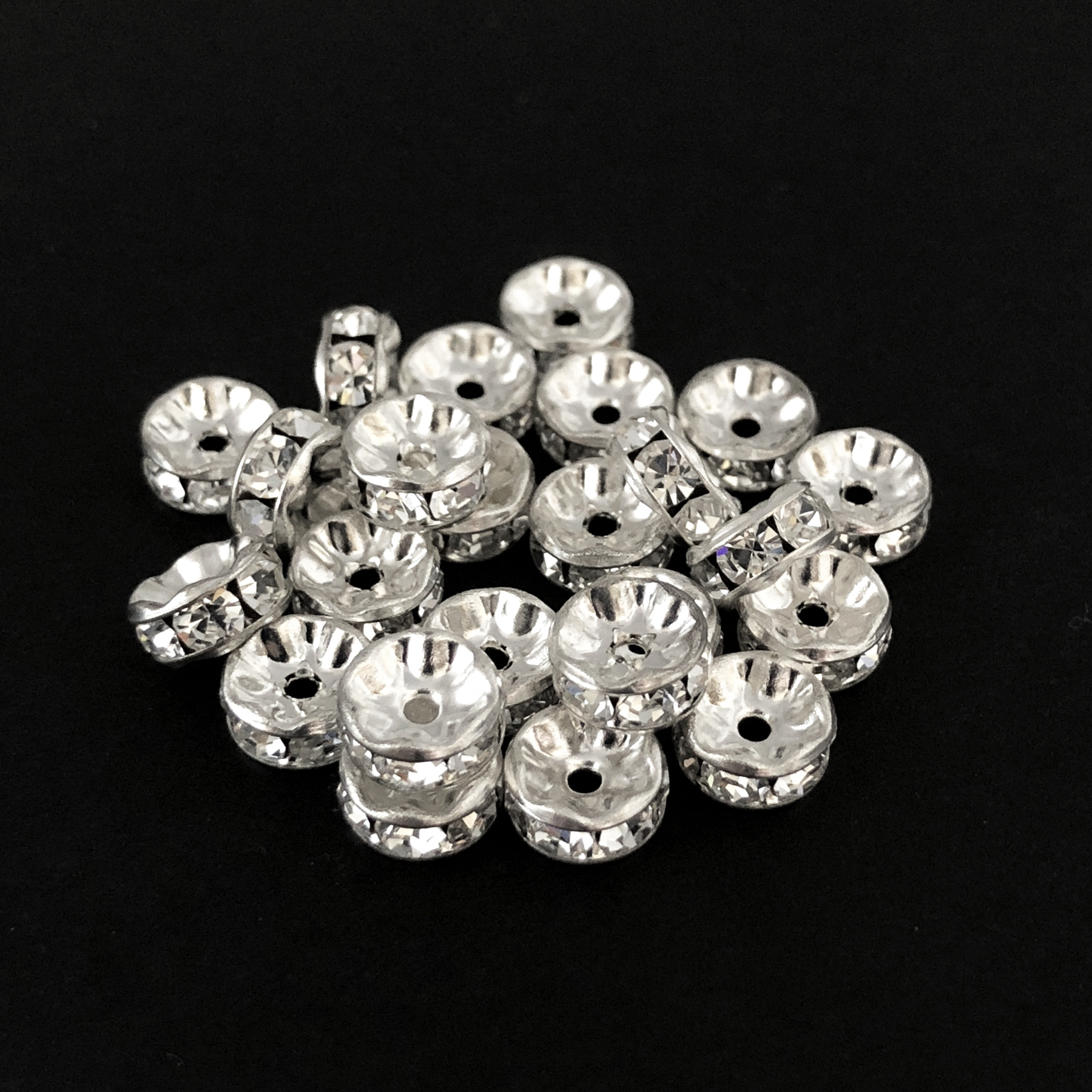 rhinestone rhondelles, crystal, silver, 7mm, 06094, vintage jewelry supplies, jewelry making supplies, Bsue Boutiques, US made, crystal rhinestones, Czech glass beads, crystal rhinestone beads, crystal rondelle,