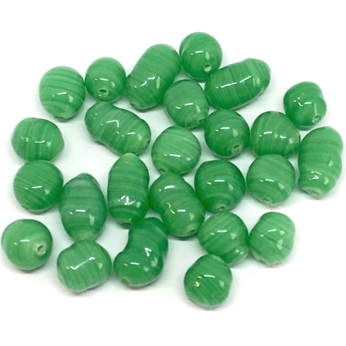 jade green glass beads, glass beads, beads, made in Japan, jade green glass, glass, baroque beads, 1960s, jade beads, jade green beads, 8mm, green, jade, beading supplies, jewelry making, jewelry supplies, B'sue Boutiques, jewelry findings, 06096