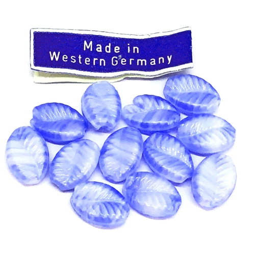 twisted blue glass leaf beads, glass leaves, glass beads, beads, Germany made, leaf beads, blue beads, twisted leaves, blue, two tones beads, 10x7mm, beading supplies, jewelry making, jewelry supplies, B'sue Boutiques, jewelry findings, 06102