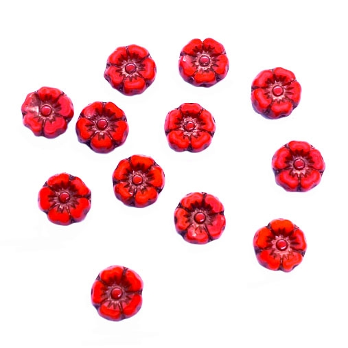 Hibiscus flower beads, 7mm size, delicate detail, Czech glass, red spice, bronze wash, Czech flowers, earrings, designer glass beads, vintage style beads, vintage look, B'sue Boutiques, vertically drilled, temp strung, 06131