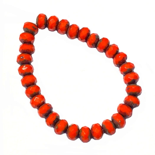 Czech glass beads, fire polished, coral color beads, 06157, glass beads, faceted beads, rondelles, donut shaped, beading supplies, jewelry making supplies, b'sue boutiques, temp strung beads, 5x3mm