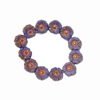 Hibiscus flower beads, 7mm size, delicate detail, Czech glass, dusty blue, picasso finish, Czech flowers, earrings, designer glass beads, vintage style beads, vintage look, B'sue Boutiques, vertically drilled, temp strung, 06159