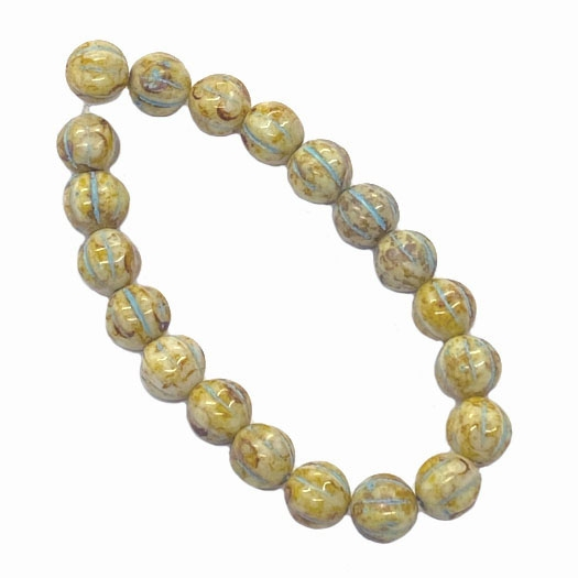 melon beads, cream beads, 8mm bead, beads, B'sue Boutiques, Czech glass, jewelry making, beading supplies, opaque beads, vintage supplies, glass beads, picasso beads, melon, turquoise wash, 06160