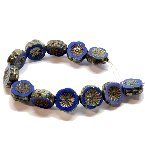 glass beads, floral beads, blue, 12mm, 06186, beading supplies, vintage jewelry supplies, jewelry making supplies, bsueboutiques, blue flower beads, side drilled beads, vintage flower beads, flower beads, blue gold beads