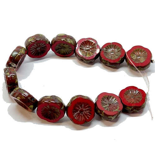 glass beads, floral beads, red, 12mm, 06188, beading supplies, vintage jewelry supplies, jewelry making supplies, bsueboutiques, red flower beads, side drilled beads, vintage flower beads, flower beads, red brown and green