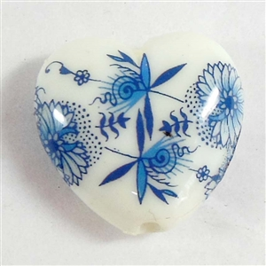 Japanese decal beads, oriental beads, heart beads