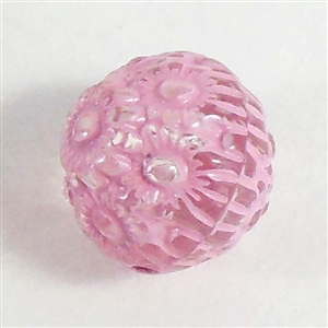 acrylic beads, floral beads, pink crystal, 12m