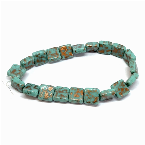 Czech glass tile beads, turquoise bronze, 06582, 11 x 10mm, square tile beads, beading supplies, jewelry making supplies, vintage jewelry supplies, turquoise blue, bronze blend, side drilled beads, glass beads