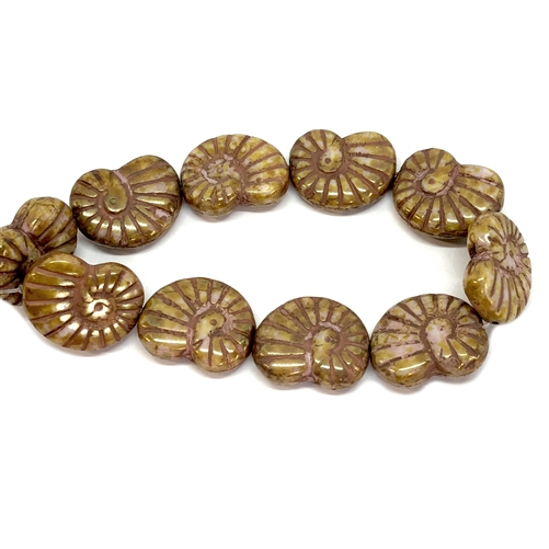glass shell beads, jewelry making, sun gold, 13 x 17mm, Czech glass beads, shell beads, snail shell beads, sun gold beads, beading supplies, jewelry making supplies, vintage jewelry supplies, light raspberry accent shell beads, 06583