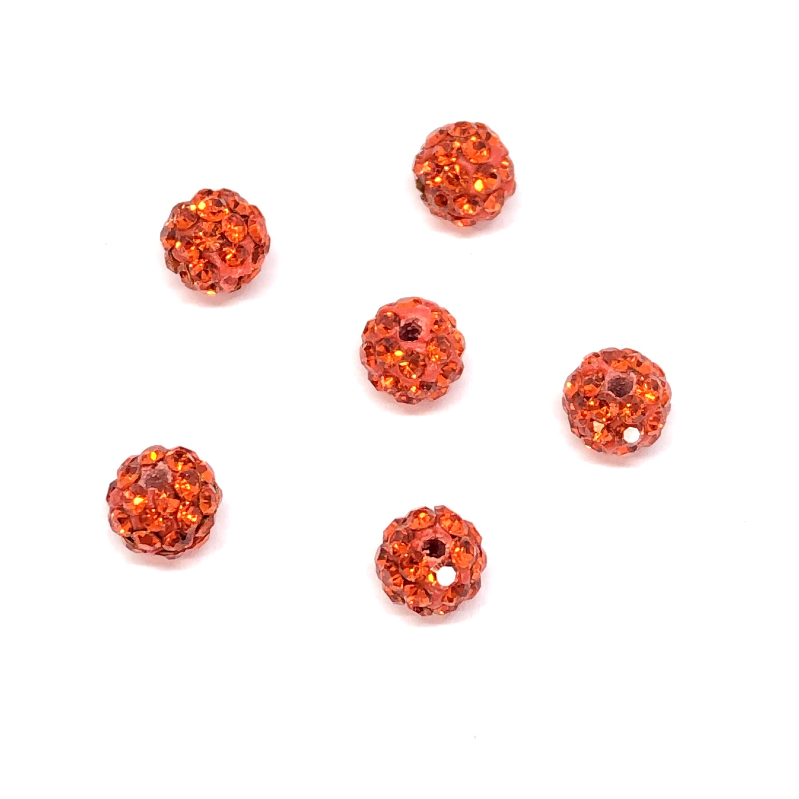 Rhinestone Pave Beads, Orange Beads, 6mm, 0668, ball beads, glass beads, crystal stones, round beads, crystal beads, faceted, bead, glass, b'sue boutiques, jewelry making, jewelry findings, vintage supplies