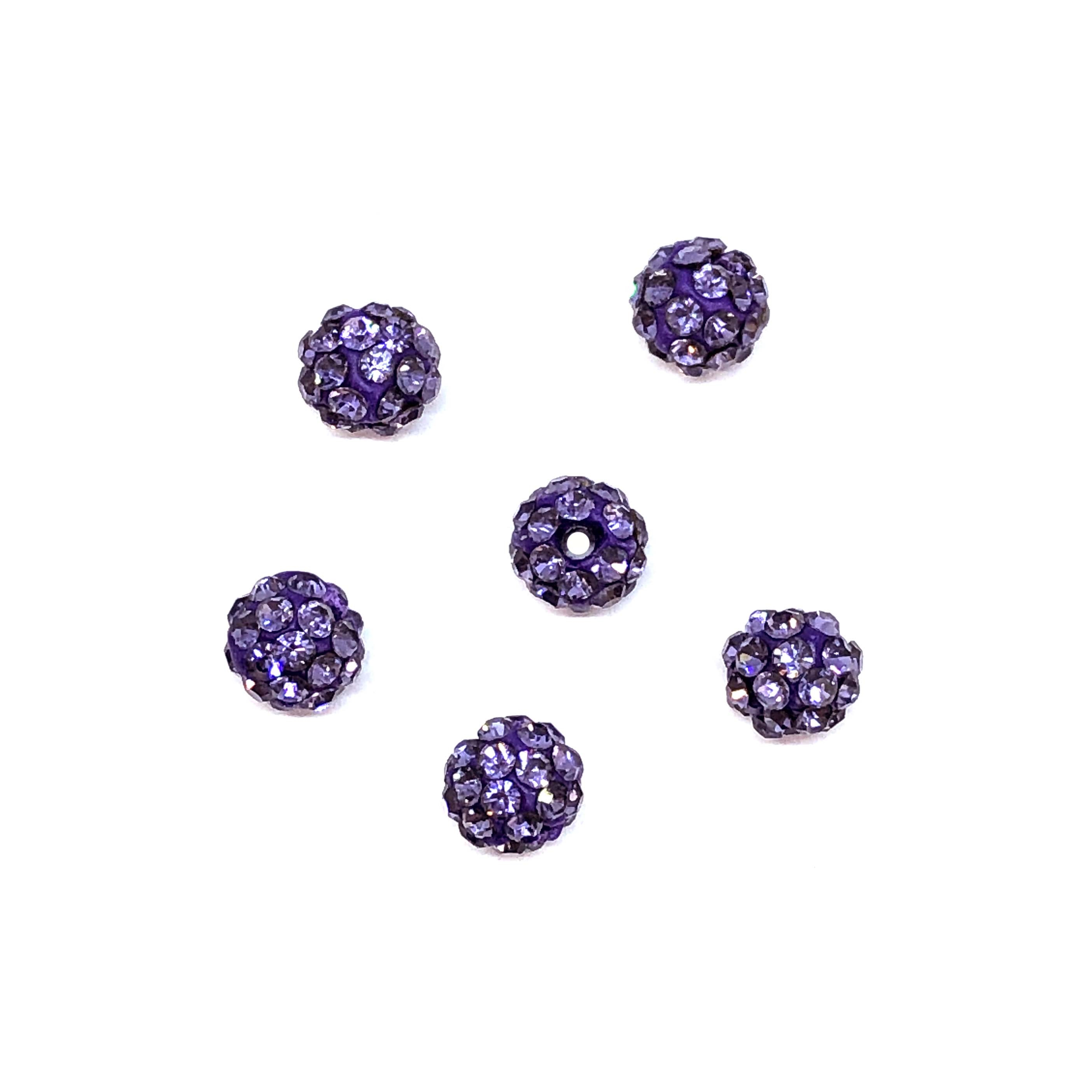 Rhinestone Pave Beads, purple Beads, 6mm, 0669, ball beads, glass beads, crystal stones, round beads, crystal beads, faceted, bead, glass, b'sue boutiques, jewelry making, jewelry findings, vintage supplies, tanzanite